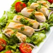 Vegetable salad with roasted chicken meat — Stock Photo #13753795