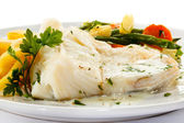 Fish dish - fish fillet, French fries and vegetables — ストック写真