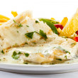 Fish dish - fish fillet, French fries and vegetables — Stock Photo #18411435