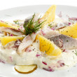 Marinated herring fillets with cream and vegetables — Stock Photo #20951481