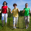 Nordic walking - active family walking outdoor — Stok fotoğraf