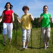 Nordic walking - active family walking outdoor — Foto de Stock