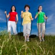 Nordic walking - active family walking outdoor — Stock Photo