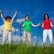 Nordic walking - active family walking outdoor — 图库照片