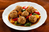 Roasted meatballs and vegetables — Stock Photo