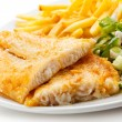 Fish dish - fried fish fillet, French fries with vegetables — Stock Photo #21041073