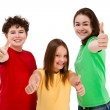 Kids showing OK sign isolated on white background — Stock Photo