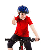 Cyclist showing OK sign isolated on white background — Stock Photo