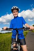 Girl biking — Foto Stock
