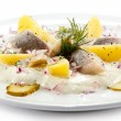 Marinated herring fillets with cream and vegetables — Stock Photo #22211815