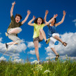 Foto Stock: Active family - mother and kids running, jumping outdoor