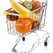 Stock Photo: Shopping trolley full of oranges on white background