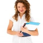 Woman holding notepad isolated on white background — Stock Photo
