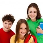 Kids holding books isolated on white background — Stock Photo