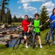 Family biking — Stock Photo