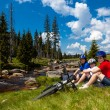 Cyclists resting — Stock Photo