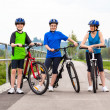 Healthy lifestyle - active family biking — Stock Photo