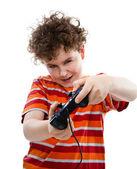 Boy using video game controller — Stock Photo