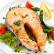 Stock Photo: Grilled salmon and vegetables