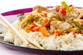Asian food - chicken with vegetables and rice — Stock Photo