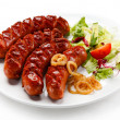 Stock Photo: Grilled sausages and vegetables
