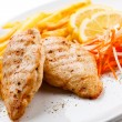Stock Photo: Grilled chicken breast and vegetables