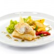 Fish dish - fried fish fillets and vegetables — Stock Photo