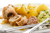 Roasted stuffed pork chop and vegetables — Stock Photo