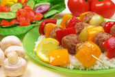 Grilled meat, rice and vegetables — Stock Photo