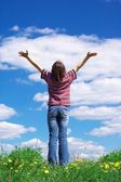 Girl holding arms — Stockfoto