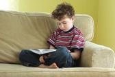 Jonge jongen lezen van een boek — Stockfoto