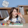 Girl doing homework — Stockfoto