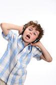 Ragazzo, ascolto di musica — Foto Stock