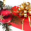 Christmas gift box and decoration  — 图库照片