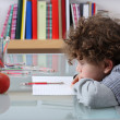 Boy learning at home — Stok fotoğraf