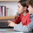 Girl and boy learning — Foto Stock