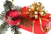 Christmas gift box and decoration — Stock Photo