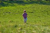 Boy jumping, running outdoor — Stock Photo