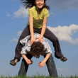 Kids running, jumping outdoor — Foto Stock