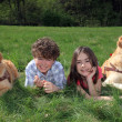 Kids with dogs — Stock Photo