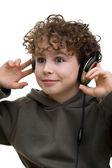 Menino com fones de ouvido — Fotografia Stock