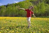 Boy jumping, running outdoor — Stok fotoğraf