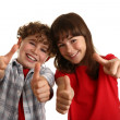Kids showing thumbs up — Foto de Stock