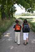 Young kids going to school — Stock Photo