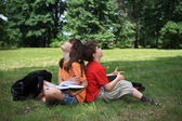 Kids learning outdoor — Stock Photo