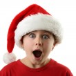 Surprised boy as Santa Claus — Stock Photo