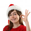 Beautiful girl Santa — Stock Photo