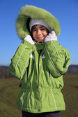 Beautiful girl wearing winter jacket — Stock Photo