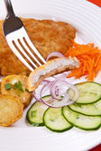 Fried chop pork with potatoes and vegetable salad — Stock Photo