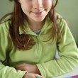 Girl drawing picture — Stock Photo